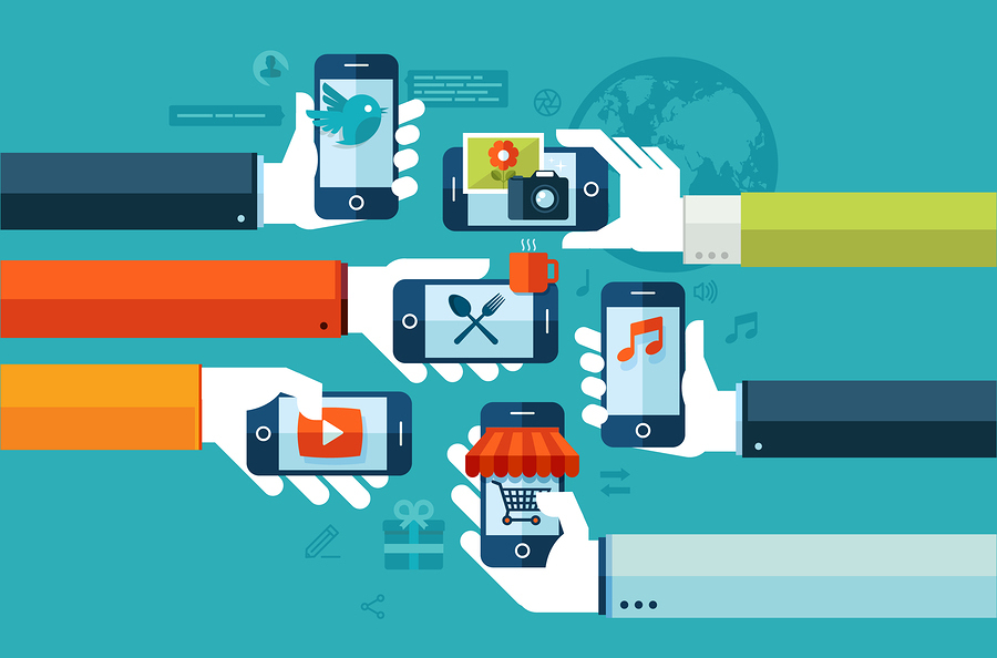 Flat design concept for smartphone services